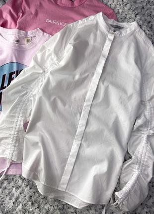 Хлопковая рубашка со сборками на рукавах h&m