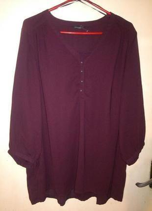 Красивая,женственная блузка,цвета марсала-баклажана,большого р...