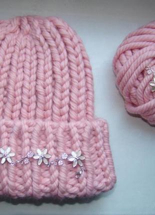 Вязаная шапка крупной вязки