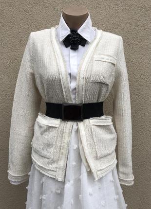 Белый,твидовый жакет,пиджак,блейзер,кардиган,хлопок с бахромой...