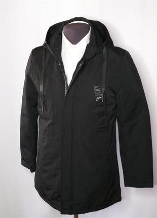 Куртка мужская демисезонная черная удлинённая armani jeans