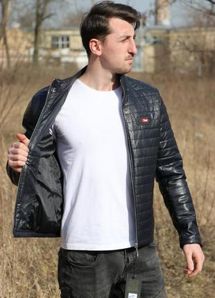 Куртка кожанка мужская синяя на весну