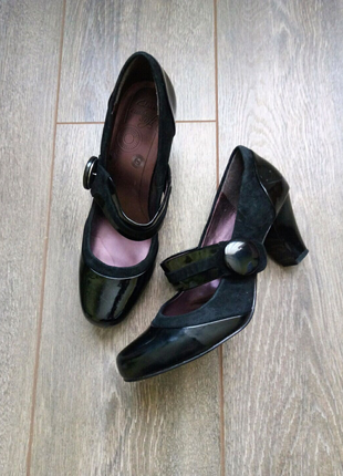 Черные кожа замш лак туфли лодочки с ремешком через ногу