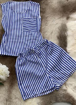 Хлопковая пижама в полоску