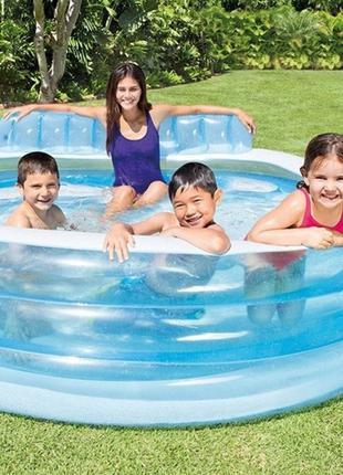 Детский надувной бассейн Intex 224х216х76см, со спинкой