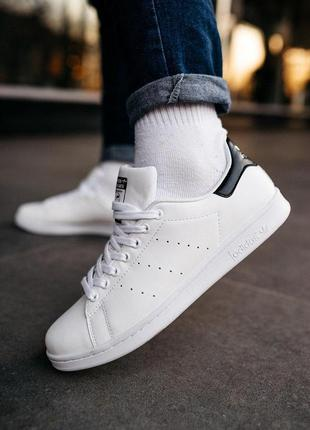 Мужские кроссовки adidas stan smith «white/black»😍