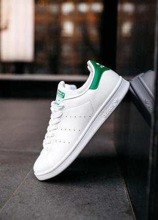 Мужские кроссовки adidas stan smith «white/green»😍