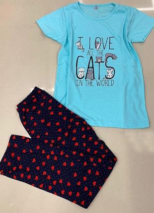 Пижама футболка+штаны голубая