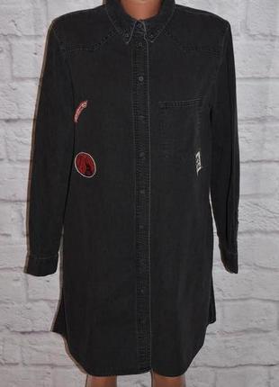 """Платье рубашка с боковыми карманами """"zara basic  z1975 denim"""""""
