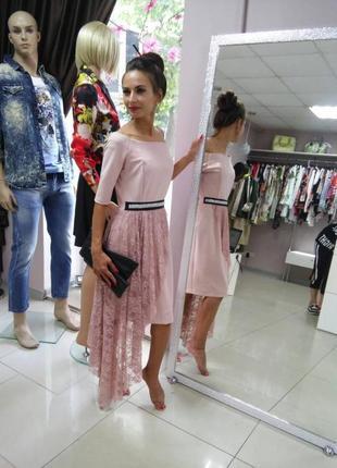 Нарядное пудровое платье со гипюровым шлейфом распродажа
