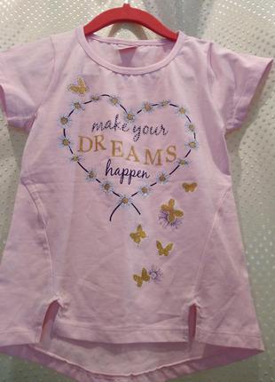 Розовая футболка для девочки (4 года)