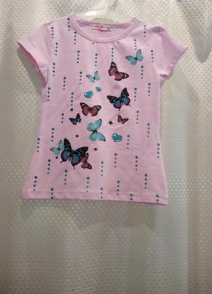 Розовая футболка для девочки 4 года. хлопок