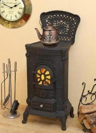 Камин печь буржуйка чугунная Черная на 8 кВт