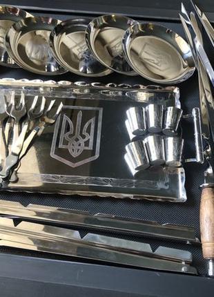 Подарочный набор шампуров и аксессуаров, посуды из нержавеющей...