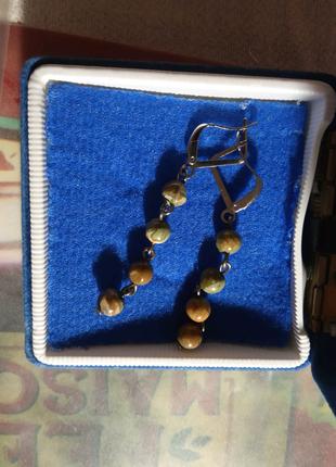 Серьги с натуральным камнем риолитом
