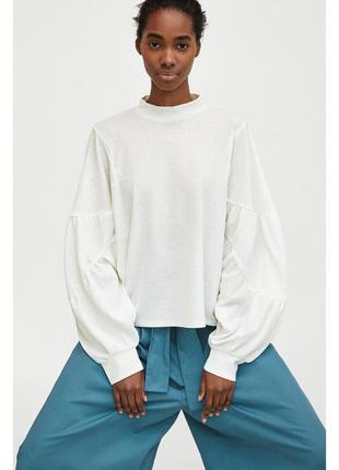 Zara блуза с объемными рукавами