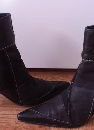 Ботинки кожаные замшевые женские сапоги полуботинки черевики ш...