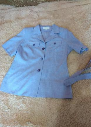 Шикарная летняя рубашка-пиджак цвета лаванды с поясом