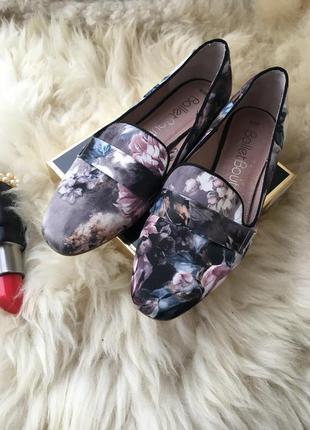 Трендовые кожаные лофер балетки натуральная кожа цветочный принт