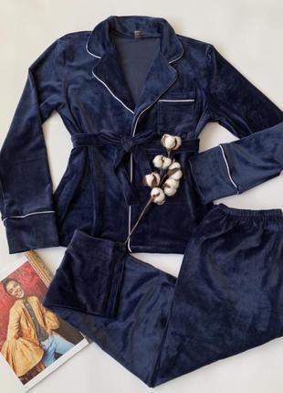 Велюровый синий костюм для дома. костюм новый пижама штаны и п...