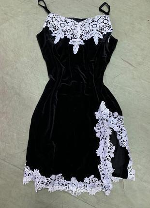 Платье бархат велюр с кружевом