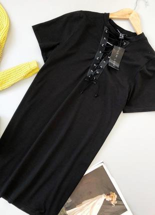 Платье-футболка со шнуровкой new look