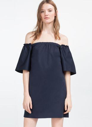 Натуральное платье из хлопка с открытыми плечами zara