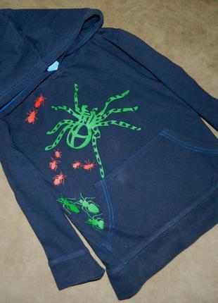 Кофта детская темно-синяя с пауками на мальчика 4-5 лет