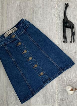 Джинсовая юбка с высокой талией на пуговицах