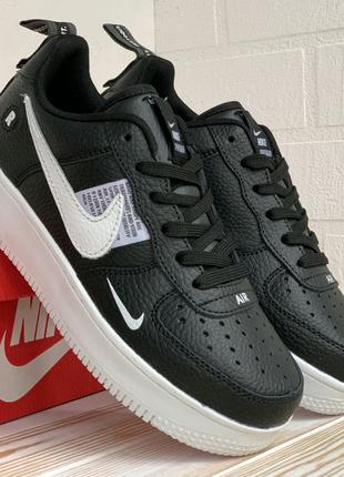 Nike Air Force черные с белой подошвой