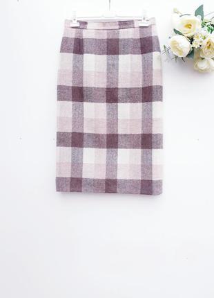 Теплая юбка миди в клетку стильная юбка с плотной ткани