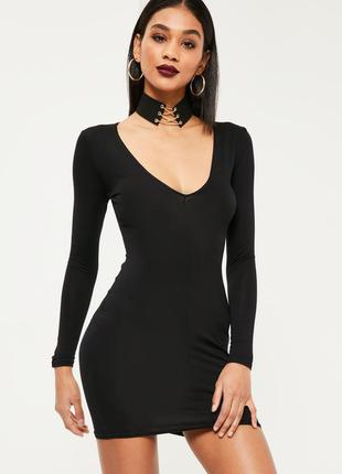 🔥 total sale 🔥маленькое черное платье с длинным рукавом missgu...