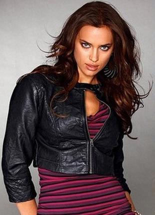 Короткий пиджак, кожа + текстиль !!!