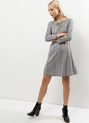 Меланжевое трикотажное платье вязаное со шнуровкой new look