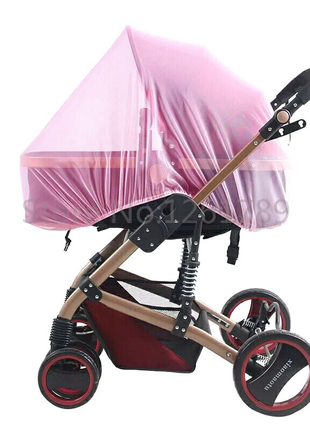 Сетка москитная для коляски цвет розовый