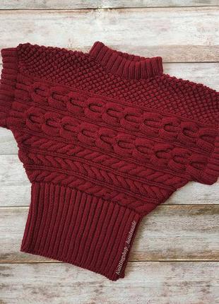 Женский вязаный свитер ручной работы с коротким рукавом
