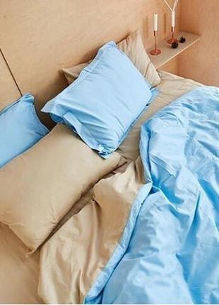 Комплект постельного белья бежевый с бирюзовым. постель эвро 2...