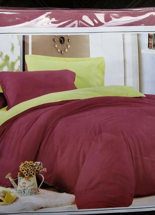 Комплект постельного белья бордо с салатовым. постель эвро 200...