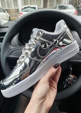 Кроссовки женские nike air force 1 low metallic silver