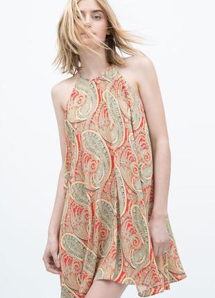 Стильное платье zara р.m принт огурцы зара mango