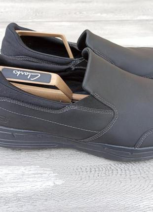 Skechers мужские кожаные кроссовки оригинал черные