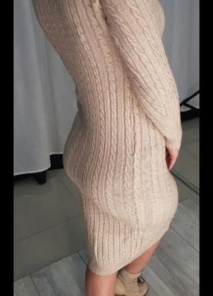 Платье теплое вязанное полотно с косами, есть цвета