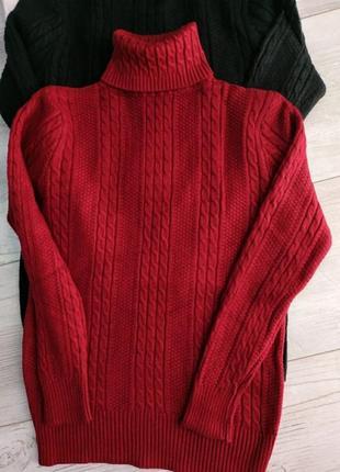 Теплый свитер гольф стойка с вязкой косичка