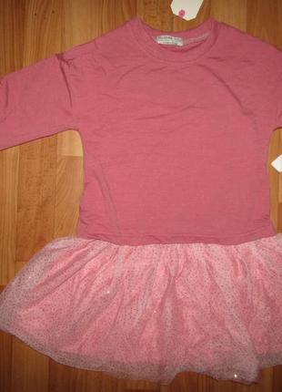 Акция!до 01.07. платье туника с фатиновой юбкой и блестками, 9...