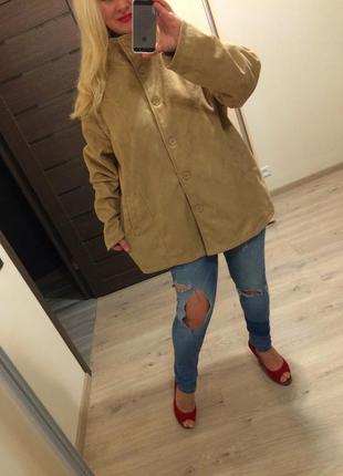 Стильный весенний замшевый пиджак большого размера