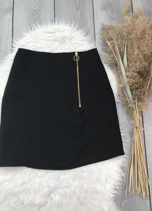 Kelly & grace юбка чёрная красивая спереди молния кольцо имита...