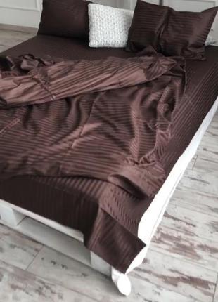 Шоколадный комплект постельного белья евро 200*220. хлопковая ...