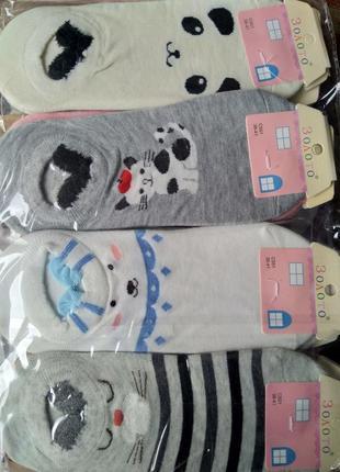 Милые прикольные носки 12 пар с мордочками мишки котики собачк...