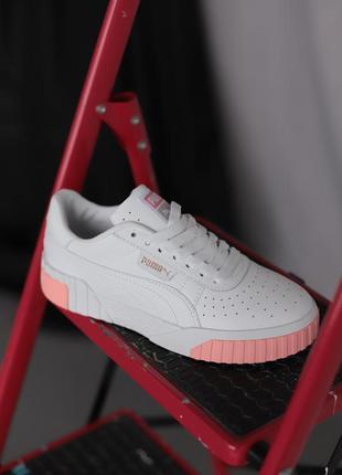 Puma cali white pink белые ♦ женские кроссовки ♦ весна лето осень