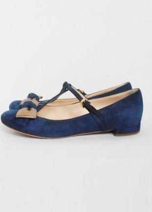 Замшевые кожаные туфли балетки